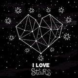 Starlit сердце на темном ночном небе Стоковое Изображение RF