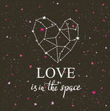 Starlit heart on the dark night sky  with stars.  Royalty Free Stock Photos