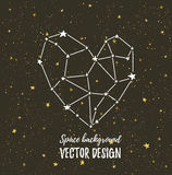 Starlit heart on the dark night sky  with stars. Vector background for valentine's card, love poster and wedding. Royalty Free Stock Images