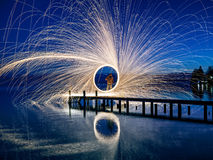 Starnberg Lake in Germany. A ring of fire at the lake Stock Image