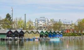 Starnberger lake harbor stock photo
