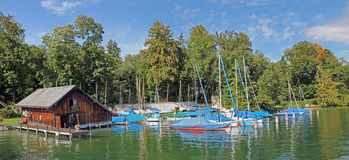 Starnberger see, boat house and sailboats Royalty Free Stock Photo