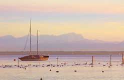 Starnberger see, sailboat and zugspitze Royalty Free Stock Image