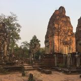 starożytna architektury świątynne hinduskie ruiny Kambodża obraz stock