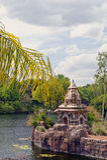 starożytna dżungli rzeki do świątyni fotografia royalty free