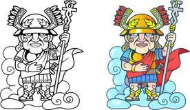 Starożytnego Grka bóg Hermes na chmurze, śmieszna ilustracyjna kolorystyki książka Zdjęcia Stock