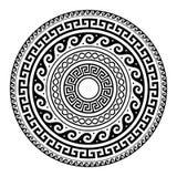 Starożytnego Grka round kluczowy wzór - meander sztuka, mandala czerni kształt ilustracja wektor