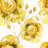 starożytny ciemności tła papieru akwareli żółty Bezszwowy egzotyczny tło Fotografia Royalty Free