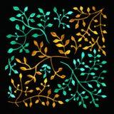 starożytny ciemności tła papieru akwareli żółty Kwiatu wizerunek Fotografia Stock