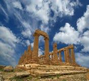 Starożytny Grek świątynia Juno, dolina świątynie, Agrigento, Sicily Obraz Stock