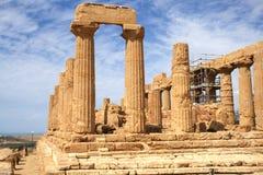 Starożytny Grek świątynia Juno w Agrigento, Sicily, Włochy Obrazy Royalty Free