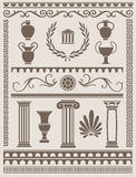 Starożytny Grek i Romańscy projektów elementy Zdjęcie Stock