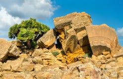 Starożytny Grek ruiny w dolinie świątynie blisko Agrigento, Sicily -, Włochy Obrazy Stock