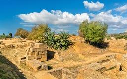 Starożytny Grek ruiny w dolinie świątynie blisko Agrigento, Sicily -, Włochy Zdjęcie Royalty Free