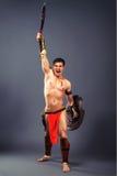 starożytny wojownik Krzyk zwycięstwo obraz stock