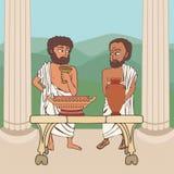 Starożytnych Grków mężczyzn rozmowa royalty ilustracja