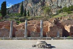 Starożytny Grek kolumny w Delphi, Grecja Obrazy Royalty Free