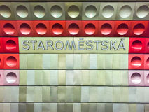Staromestska metra znak Fotografia Royalty Free