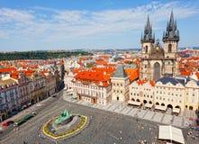 Staromestskaya广场城市风景在布拉格 免版税库存照片