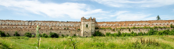 Staroselskiy castle in Stare Selo in the Lviv. The old ruins of the collapsed walls with gates and windows Staroselskiy castle in Stare Selo in the Lviv region Stock Photography