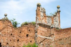 Staroselskiy castle in Stare Selo in the Lviv. The old ruins of the collapsed walls with gates and windows Staroselskiy castle in Stare Selo in the Lviv region royalty free stock photography