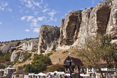 Starosillya - Bakhchisaray的郊区在一道美丽的山峡谷位于 免版税库存照片