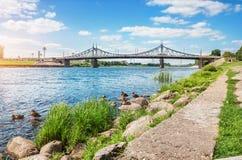 Starovolzhskiy most w Tver przez Volga Obraz Royalty Free
