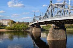 Starovolzhsky road bridge across the Volga in Tver, Russia Royalty Free Stock Photo