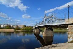 Starovolzhsky road bridge across the Volga in Tver, Russia Royalty Free Stock Images