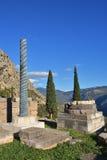 Starożytny Grek kolumna w Delphi, Grecja Zdjęcia Stock