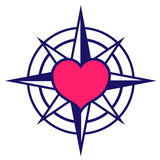 Starred compass with heart icon Stock Photography