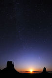 Starring night over the monument valley park. Full moon rise and starring over the monument valley park Stock Photo