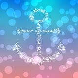 Starry anchor decor on colored background Royalty Free Stock Images