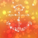 Starry anchor decor on orange background Stock Image