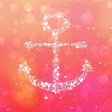 Starry anchor decor on pink background Stock Photo