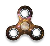 Starry anti-stress toy three finger spinner with drop shadow Royalty Free Stock Photos