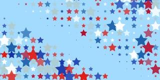 Red, blue, white stars on light blue. vector illustration
