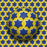 Starry ball rolling along the same surface. Abstract vector optical illusion illustration. Motion background. And tile of seamless wallpaper Royalty Free Stock Photo