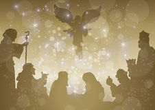 Starry belen complete. Sparkling golden nativity scene with crib in centre Royalty Free Stock Images