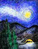Starry Bethlehem Night. Illustration of the first Christmas Eve in Bethlehem... in a style reminiscent of Van Gogh's Starry Night Stock Photo