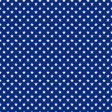 Starry Blue Patriotic Pattern Print. A blue and white patriotic star background pattern Stock Illustration