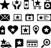 Starry business web icons. Illustrated set of business web icons with stars, white background Stock Photo