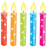 Starry Candle Set. Colorful starry candles set. Gradient free illustration Stock Image