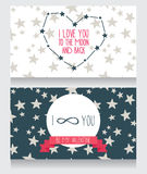 Starry cards for valentine's day. Heart formed constellations and planet, vector illustration Stock Image