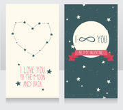 Starry cards for valentine's day. Heart formed constellations and planet, vector illustration Royalty Free Stock Image