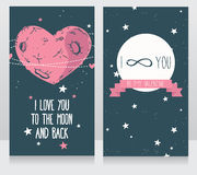 Starry cards for valentine's day. Heart formed constellations and planet, vector illustration Stock Photo