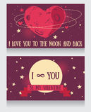 Starry cards for valentine's day. Heart formed constellations and planet, vector illustration Stock Photography