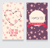 Starry cards for valentine's day. Heart formed constellations and planet, vector illustration Royalty Free Stock Photo