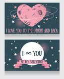 Starry cards for valentine's day. Heart formed constellations and planet, vector illustration Stock Photos
