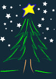 Starry Christmas Night. A illustration of a christmas tree in a starry night Royalty Free Illustration